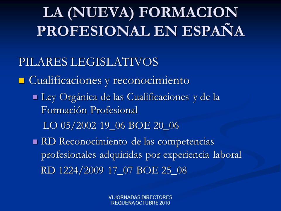 VI JORNADAS DIRECTORES REQUENA OCTUBRE 2010 LA (NUEVA) FORMACION PROFESIONAL EN ESPAÑA PILARES LEGISLATIVOS Cualificaciones y reconocimiento Cualifica