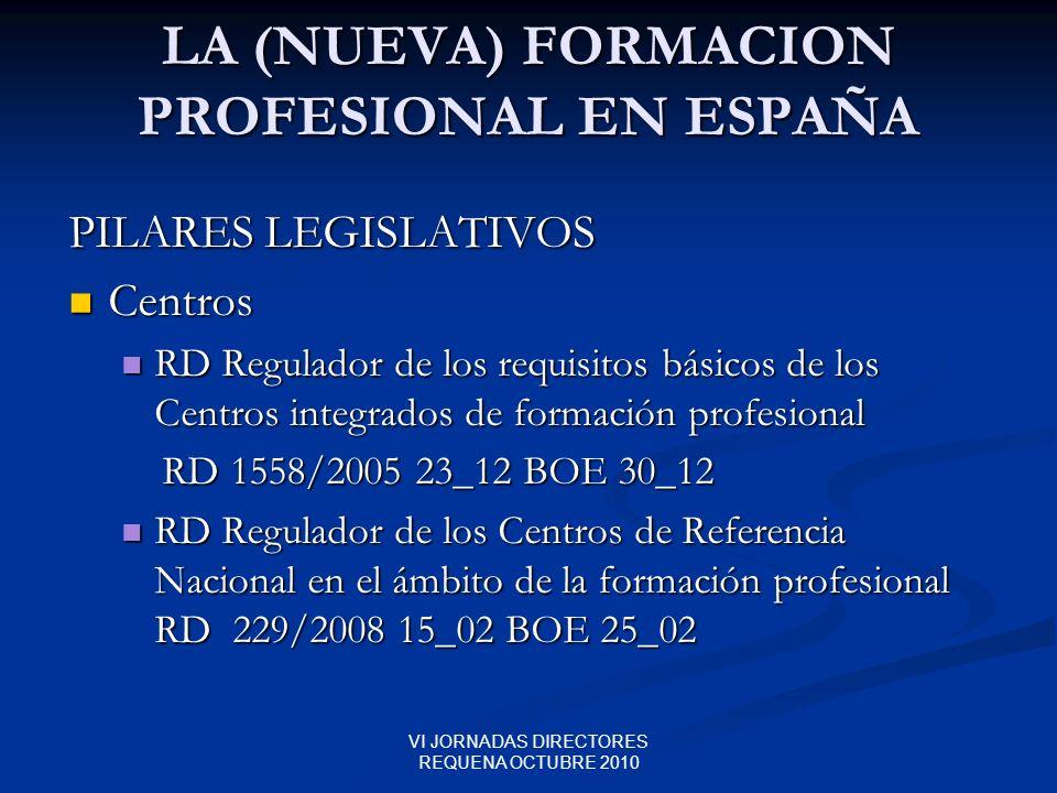 VI JORNADAS DIRECTORES REQUENA OCTUBRE 2010 LA (NUEVA) FORMACION PROFESIONAL EN ESPAÑA PILARES LEGISLATIVOS Centros Centros RD Regulador de los requis