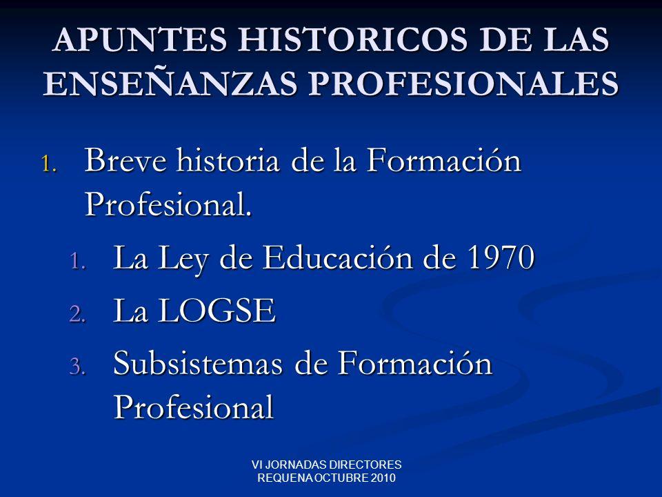 VI JORNADAS DIRECTORES REQUENA OCTUBRE 2010 APUNTES HISTORICOS DE LAS ENSEÑANZAS PROFESIONALES 1. Breve historia de la Formación Profesional. 1. La Le