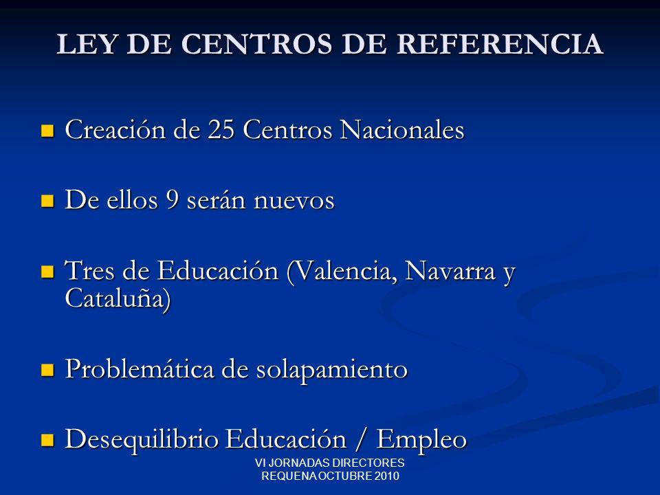VI JORNADAS DIRECTORES REQUENA OCTUBRE 2010 LEY DE CENTROS DE REFERENCIA Creación de 25 Centros Nacionales Creación de 25 Centros Nacionales De ellos