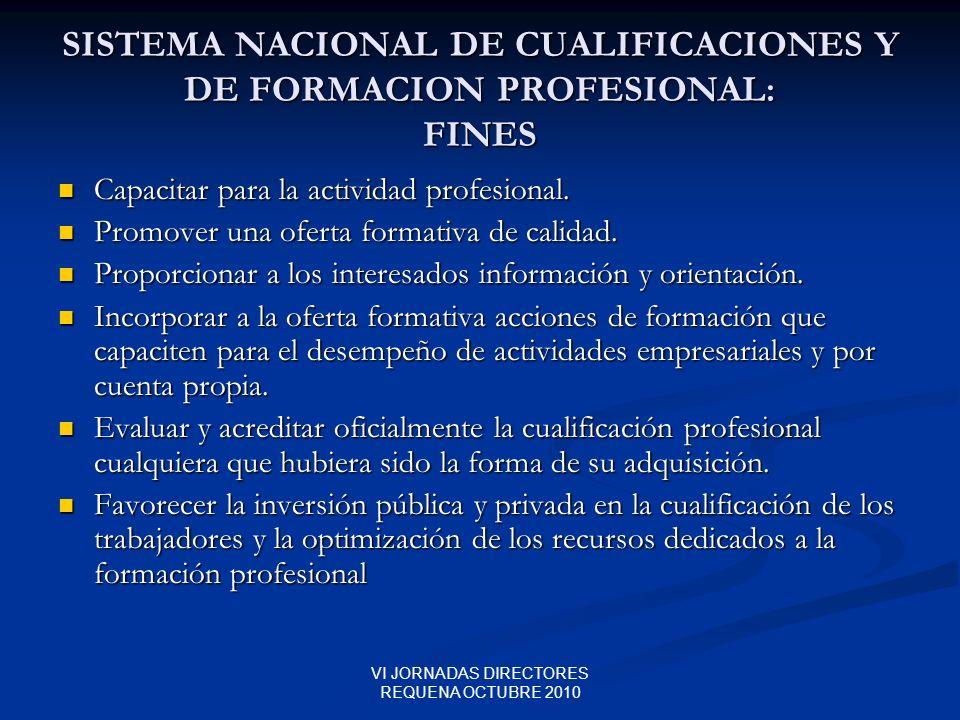 VI JORNADAS DIRECTORES REQUENA OCTUBRE 2010 SISTEMA NACIONAL DE CUALIFICACIONES Y DE FORMACION PROFESIONAL: FINES Capacitar para la actividad profesio