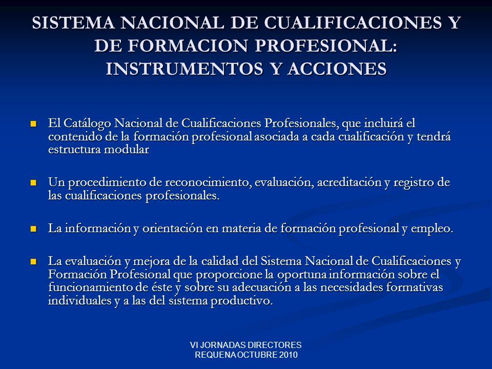 VI JORNADAS DIRECTORES REQUENA OCTUBRE 2010 SISTEMA NACIONAL DE CUALIFICACIONES Y DE FORMACION PROFESIONAL: INSTRUMENTOS Y ACCIONES El Catálogo Nacion