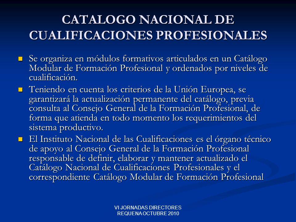 VI JORNADAS DIRECTORES REQUENA OCTUBRE 2010 CATALOGO NACIONAL DE CUALIFICACIONES PROFESIONALES Se organiza en módulos formativos articulados en un Cat