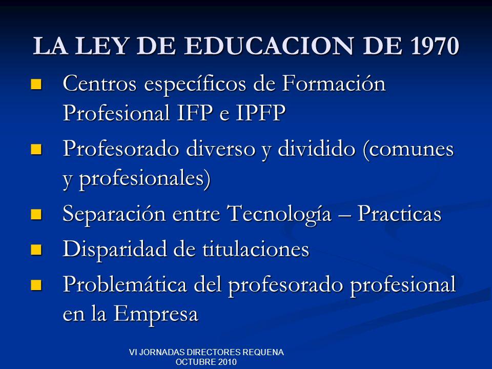 VI JORNADAS DIRECTORES REQUENA OCTUBRE 2010 LA LEY DE EDUCACION DE 1970 Centros específicos de Formación Profesional IFP e IPFP Centros específicos de