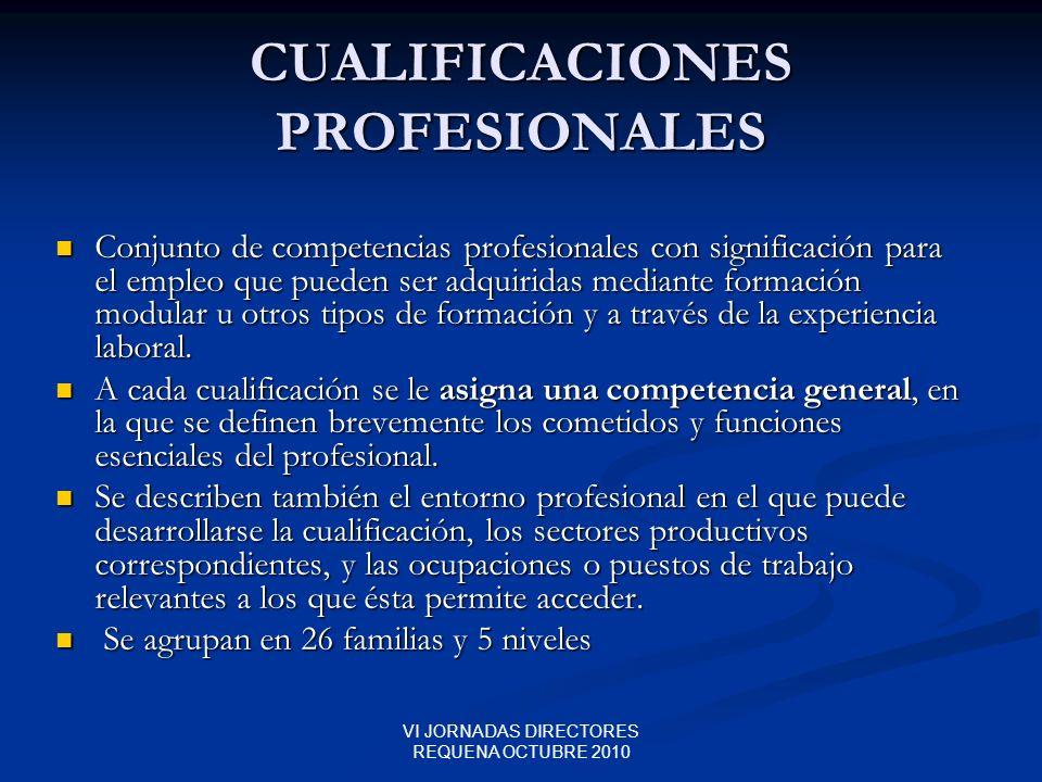 VI JORNADAS DIRECTORES REQUENA OCTUBRE 2010 CUALIFICACIONES PROFESIONALES Conjunto de competencias profesionales con significación para el empleo que