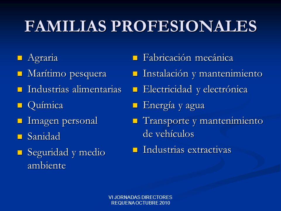 VI JORNADAS DIRECTORES REQUENA OCTUBRE 2010 FAMILIAS PROFESIONALES Agraria Agraria Marítimo pesquera Marítimo pesquera Industrias alimentarias Industr