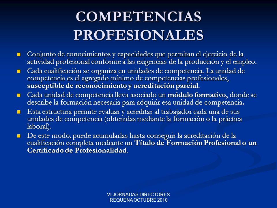 VI JORNADAS DIRECTORES REQUENA OCTUBRE 2010 COMPETENCIAS PROFESIONALES Conjunto de conocimientos y capacidades que permitan el ejercicio de la activid