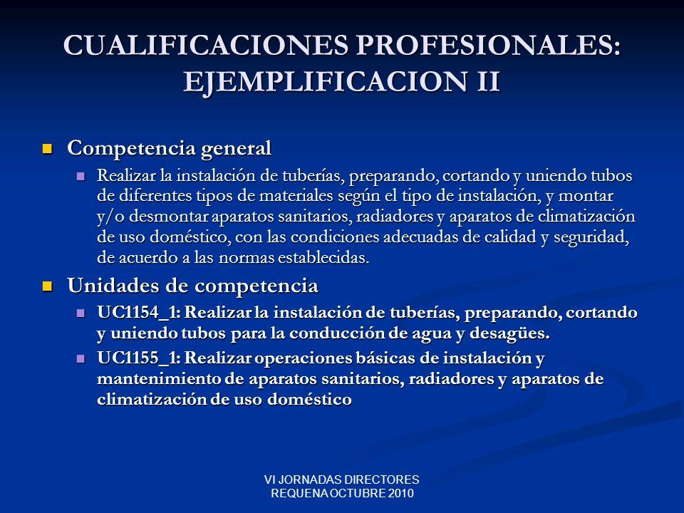 VI JORNADAS DIRECTORES REQUENA OCTUBRE 2010 CUALIFICACIONES PROFESIONALES: EJEMPLIFICACION II Competencia general Competencia general Realizar la inst