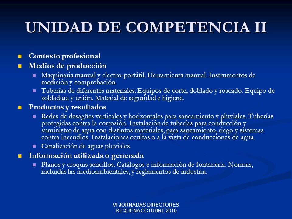 VI JORNADAS DIRECTORES REQUENA OCTUBRE 2010 UNIDAD DE COMPETENCIA II Contexto profesional Medios de producción Maquinaria manual y electro-portátil. H