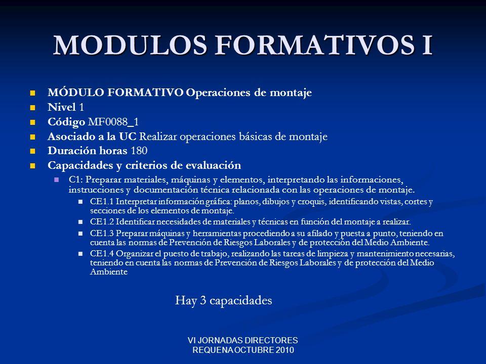 VI JORNADAS DIRECTORES REQUENA OCTUBRE 2010 MODULOS FORMATIVOS I MÓDULO FORMATIVO Operaciones de montaje Nivel 1 Código MF0088_1 Asociado a la UC Real