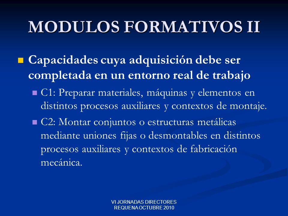 VI JORNADAS DIRECTORES REQUENA OCTUBRE 2010 MODULOS FORMATIVOS II Capacidades cuya adquisición debe ser completada en un entorno real de trabajo C1: P