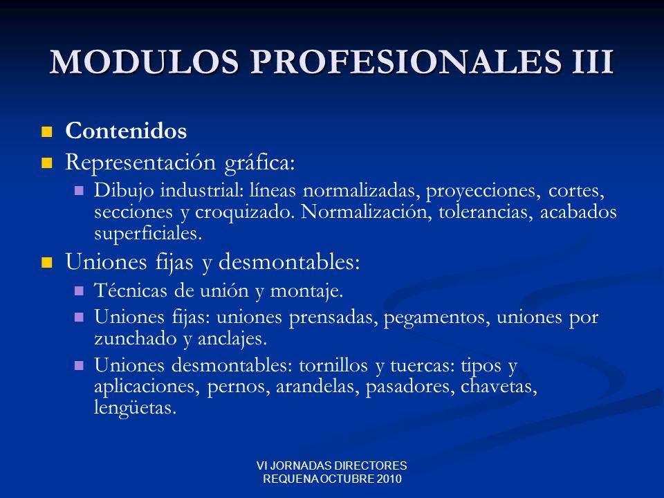VI JORNADAS DIRECTORES REQUENA OCTUBRE 2010 MODULOS PROFESIONALES III Contenidos Representación gráfica: Dibujo industrial: líneas normalizadas, proye
