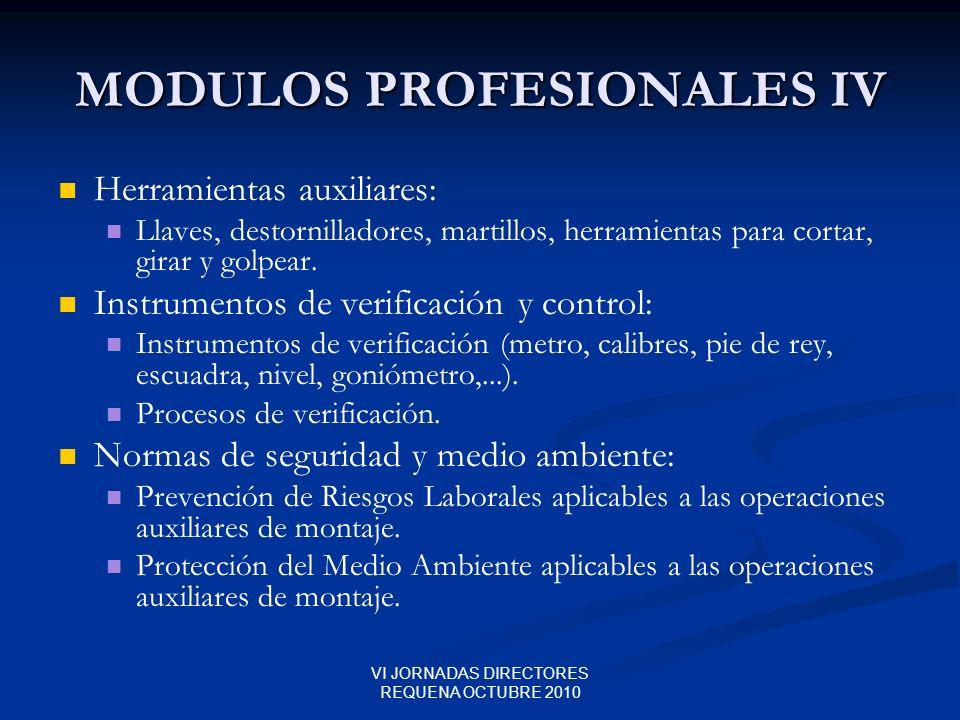 VI JORNADAS DIRECTORES REQUENA OCTUBRE 2010 MODULOS PROFESIONALES IV Herramientas auxiliares: Llaves, destornilladores, martillos, herramientas para c