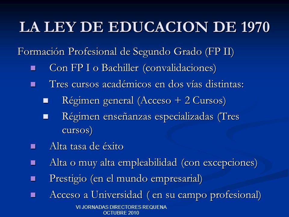 VI JORNADAS DIRECTORES REQUENA OCTUBRE 2010 LA LEY DE EDUCACION DE 1970 Formación Profesional de Segundo Grado (FP II) Con FP I o Bachiller (convalida