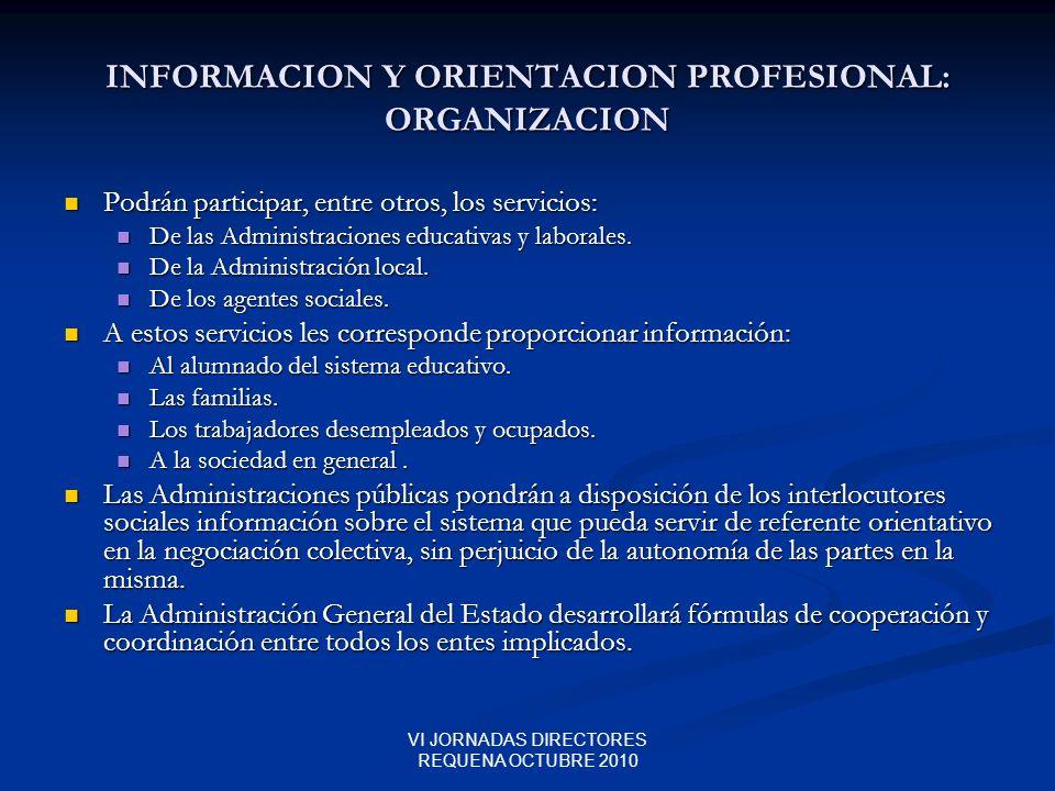 VI JORNADAS DIRECTORES REQUENA OCTUBRE 2010 INFORMACION Y ORIENTACION PROFESIONAL: ORGANIZACION Podrán participar, entre otros, los servicios: Podrán