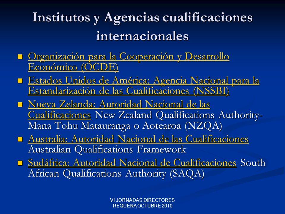 VI JORNADAS DIRECTORES REQUENA OCTUBRE 2010 Institutos y Agencias cualificaciones internacionales Organización para la Cooperación y Desarrollo Económ