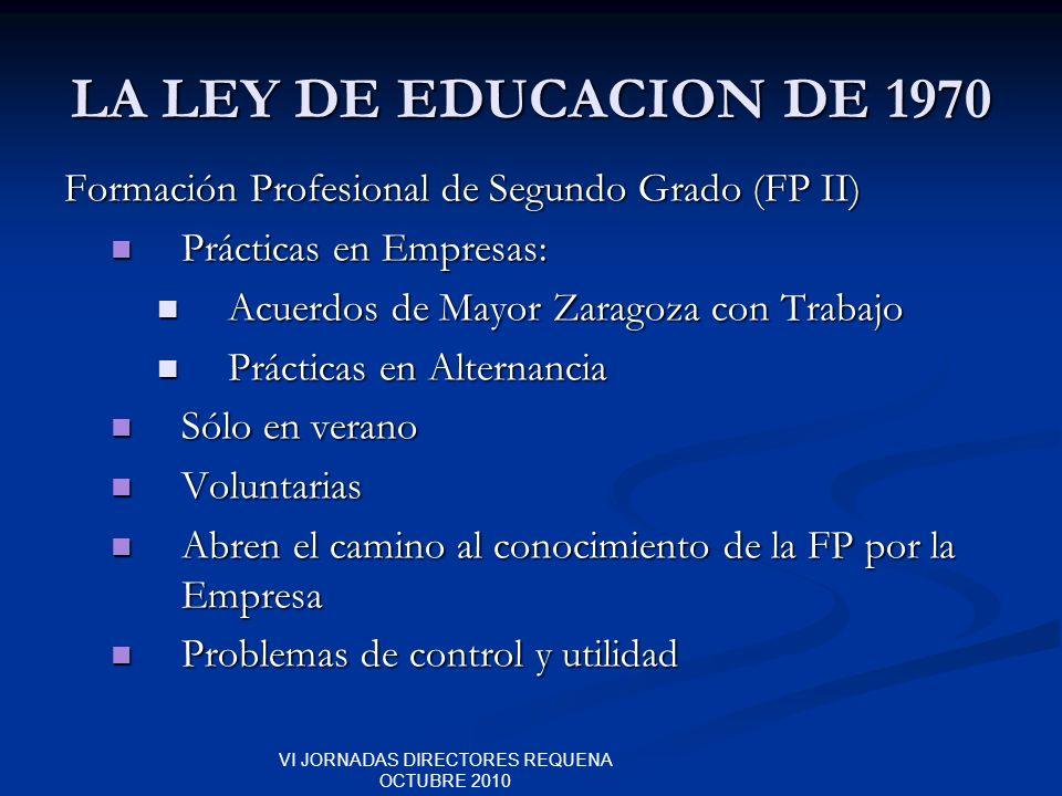 VI JORNADAS DIRECTORES REQUENA OCTUBRE 2010 LA LEY DE EDUCACION DE 1970 Formación Profesional de Segundo Grado (FP II) Prácticas en Empresas: Práctica