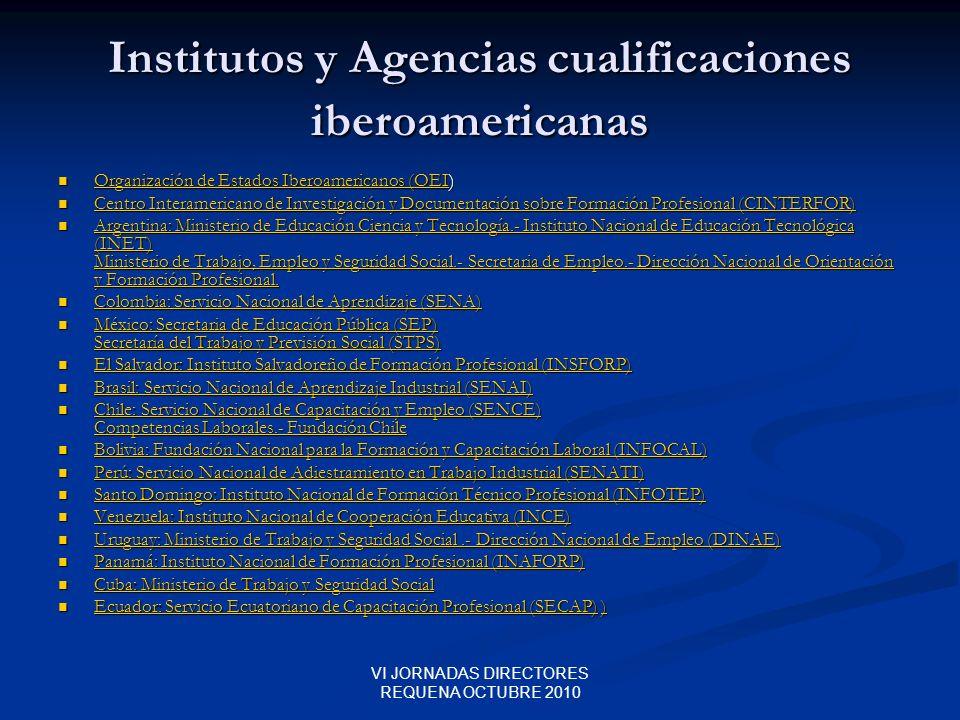 VI JORNADAS DIRECTORES REQUENA OCTUBRE 2010 Institutos y Agencias cualificaciones iberoamericanas Organización de Estados Iberoamericanos (OEI) Organi