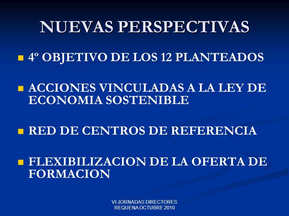 VI JORNADAS DIRECTORES REQUENA OCTUBRE 2010 NUEVAS PERSPECTIVAS 4º OBJETIVO DE LOS 12 PLANTEADOS ACCIONES VINCULADAS A LA LEY DE ECONOMIA SOSTENIBLE R