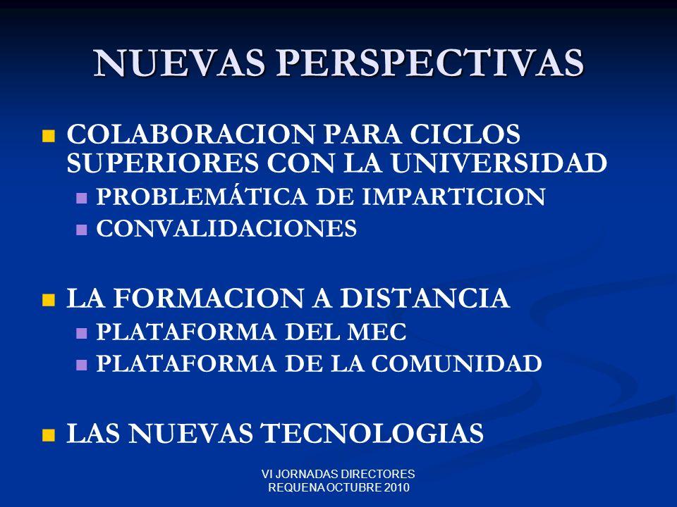 VI JORNADAS DIRECTORES REQUENA OCTUBRE 2010 NUEVAS PERSPECTIVAS COLABORACION PARA CICLOS SUPERIORES CON LA UNIVERSIDAD PROBLEMÁTICA DE IMPARTICION CON