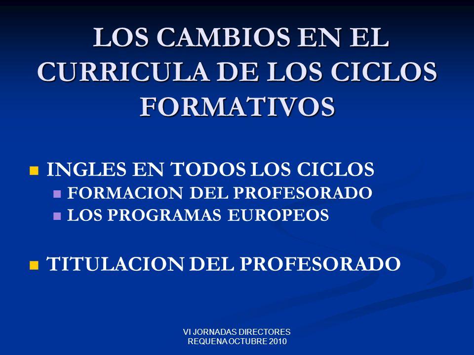 VI JORNADAS DIRECTORES REQUENA OCTUBRE 2010 LOS CAMBIOS EN EL CURRICULA DE LOS CICLOS FORMATIVOS LOS CAMBIOS EN EL CURRICULA DE LOS CICLOS FORMATIVOS