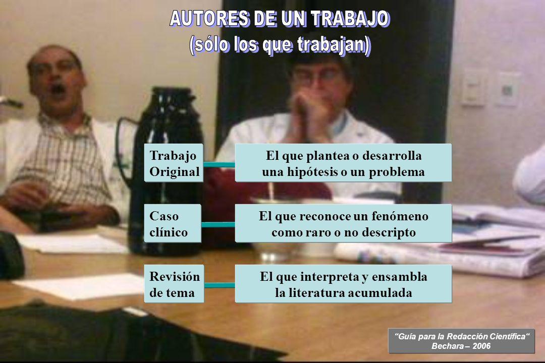 Guía para la Redacción Científica Bechara – 2006 Trabajo Original El que plantea o desarrolla una hipótesis o un problema Caso clínico El que reconoce