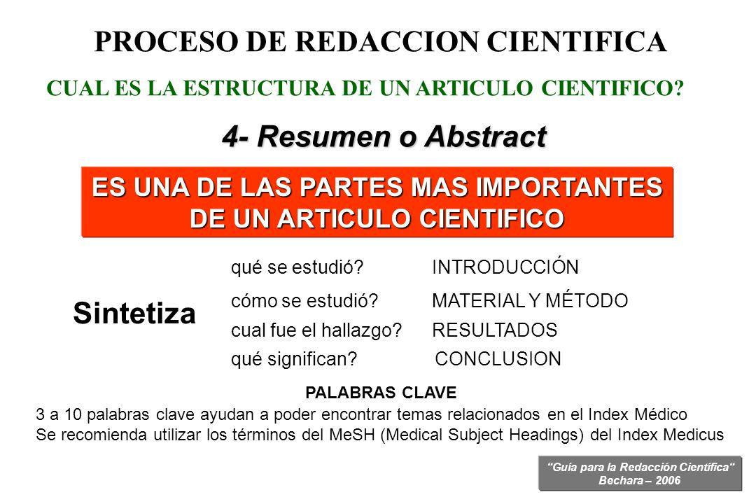 Guía para la Redacción Científica Bechara – 2006 PROCESO DE REDACCION CIENTIFICA 4- Resumen o Abstract ES UNA DE LAS PARTES MAS IMPORTANTES DE UN ARTI