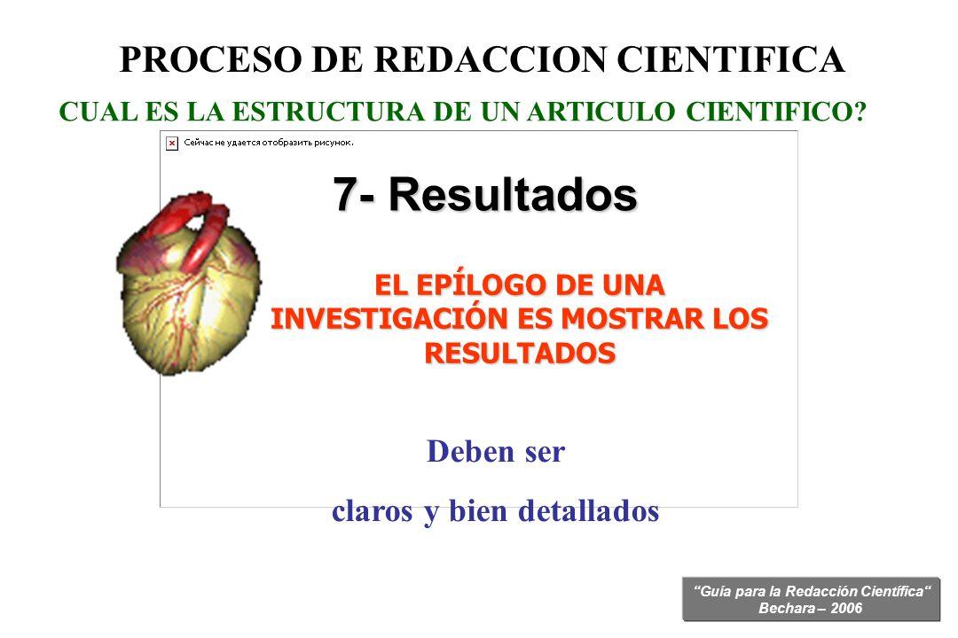 Guía para la Redacción Científica Bechara – 2006 CUAL ES LA ESTRUCTURA DE UN ARTICULO CIENTIFICO? 7- Resultados PROCESO DE REDACCION CIENTIFICA EL EPÍ