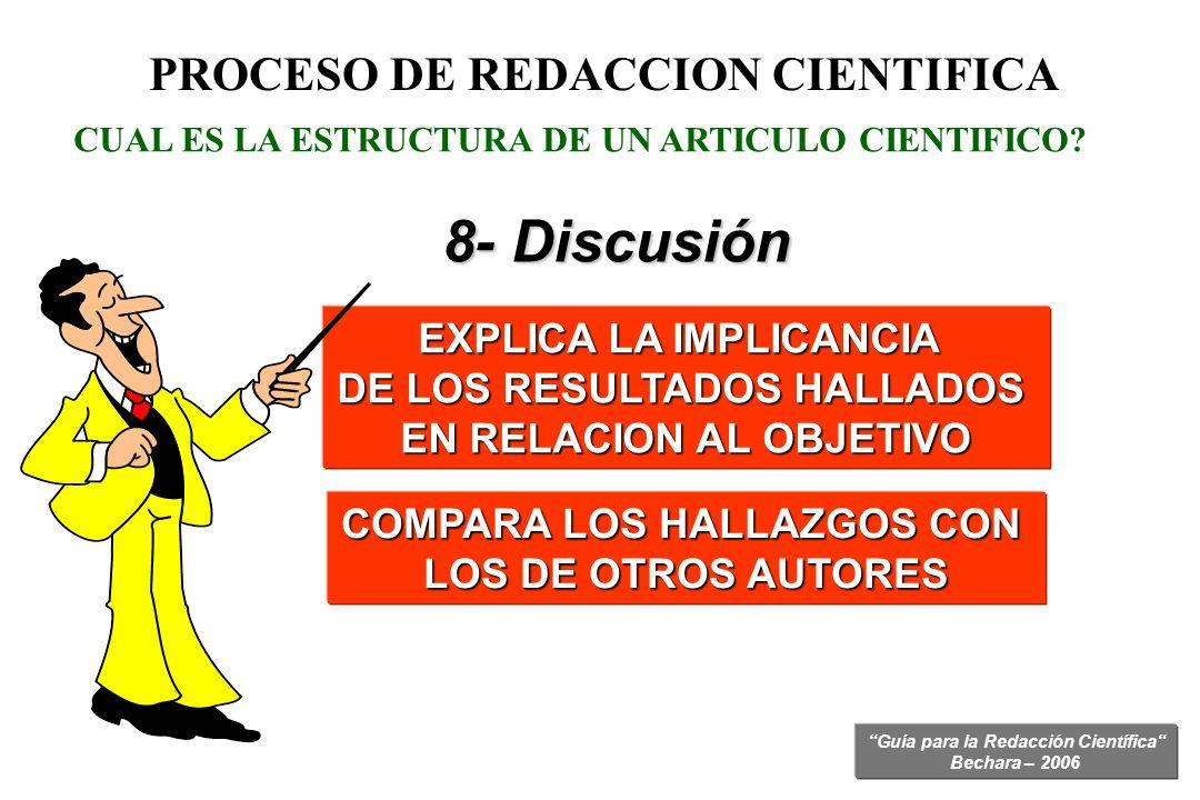 Guía para la Redacción Científica Bechara – 2006 CUAL ES LA ESTRUCTURA DE UN ARTICULO CIENTIFICO? EXPLICA LA IMPLICANCIA DE LOS RESULTADOS HALLADOS EN
