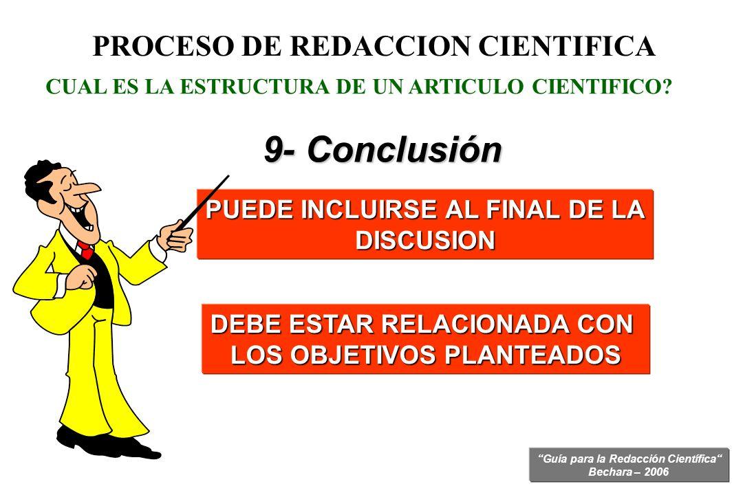 Guía para la Redacción Científica Bechara – 2006 CUAL ES LA ESTRUCTURA DE UN ARTICULO CIENTIFICO? PUEDE INCLUIRSE AL FINAL DE LA DISCUSION PROCESO DE