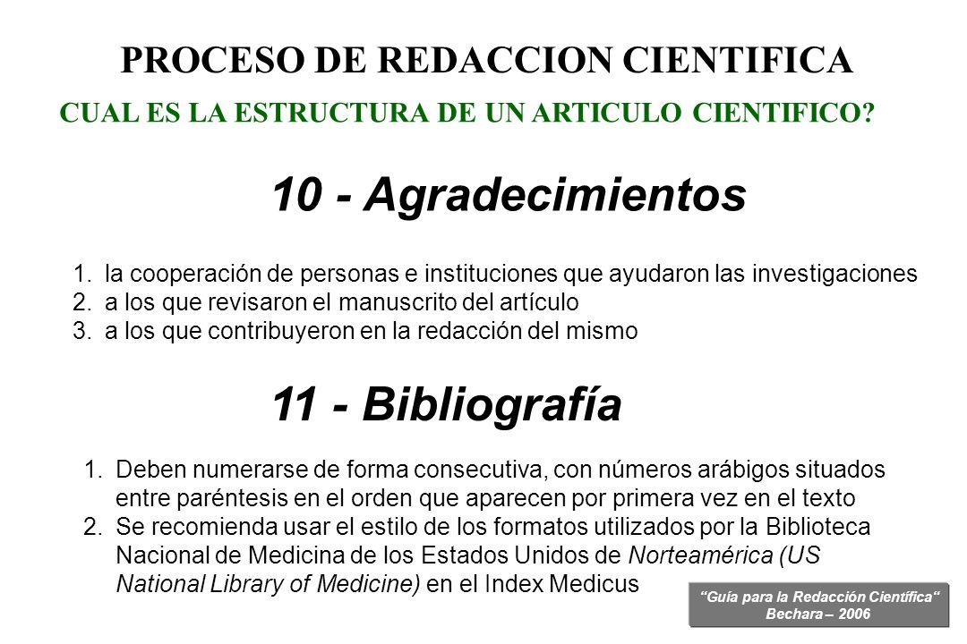 Guía para la Redacción Científica Bechara – 2006 CUAL ES LA ESTRUCTURA DE UN ARTICULO CIENTIFICO? 10 - Agradecimientos PROCESO DE REDACCION CIENTIFICA