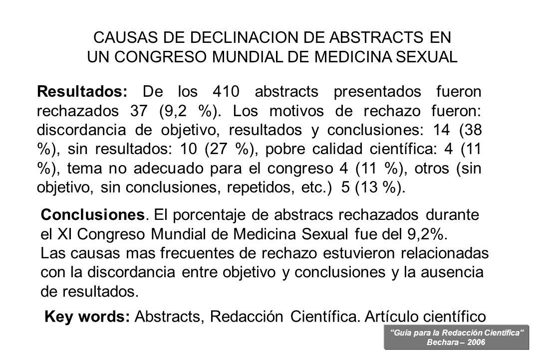 Guía para la Redacción Científica Bechara – 2006 Resultados: De los 410 abstracts presentados fueron rechazados 37 (9,2 %). Los motivos de rechazo fue