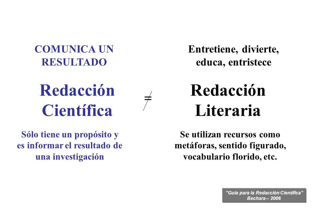 Guía para la Redacción Científica Bechara – 2006 Entretiene, divierte, educa, entristece Se utilizan recursos como metáforas, sentido figurado, vocabu
