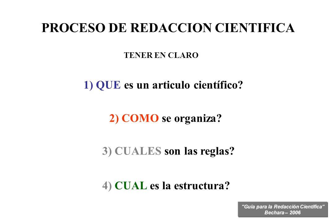 Guía para la Redacción Científica Bechara – 2006 PROCESO DE REDACCION CIENTIFICA 1) QUE es un articulo científico? TENER EN CLARO 2) COMO se organiza?