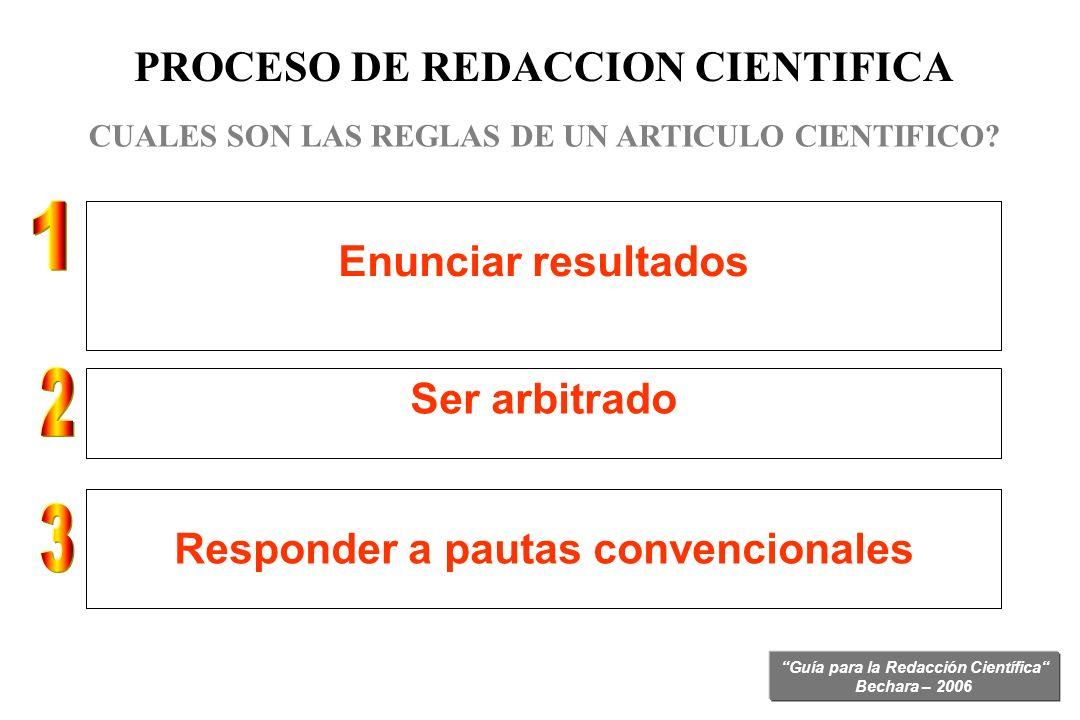 Guía para la Redacción Científica Bechara – 2006 PROCESO DE REDACCION CIENTIFICA CUALES SON LAS REGLAS DE UN ARTICULO CIENTIFICO? La estructura de cad