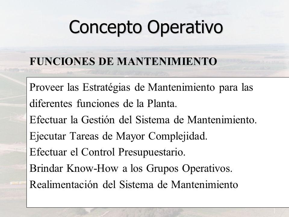 Proveer las Estratégias de Mantenimiento para las diferentes funciones de la Planta. Efectuar la Gestión del Sistema de Mantenimiento. Ejecutar Tareas