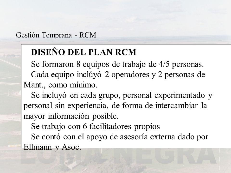 DISEÑO DEL PLAN RCM Se formaron 8 equipos de trabajo de 4/5 personas. Cada equipo inclúyó 2 operadores y 2 personas de Mant., como mínimo. Se incluyó