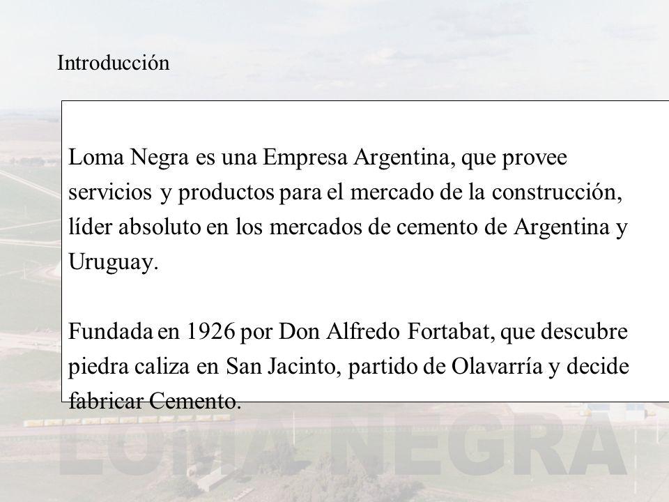 Introducción Loma Negra es una Empresa Argentina, que provee servicios y productos para el mercado de la construcción, líder absoluto en los mercados