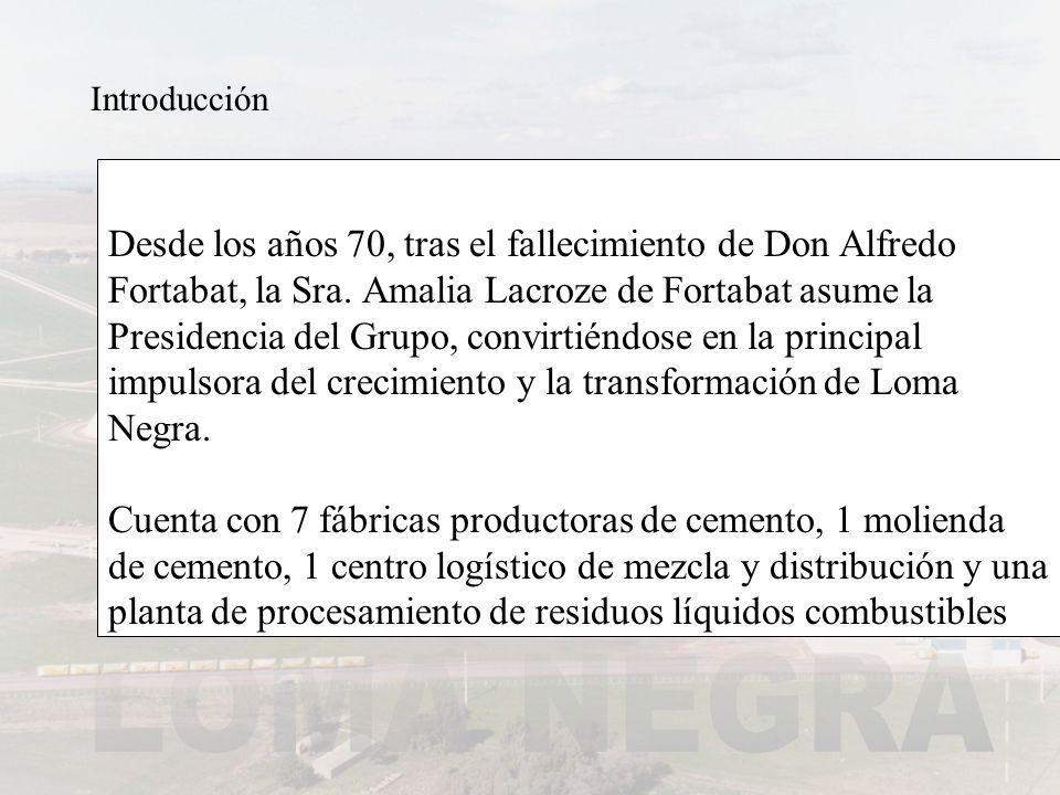 Introducción Desde los años 70, tras el fallecimiento de Don Alfredo Fortabat, la Sra. Amalia Lacroze de Fortabat asume la Presidencia del Grupo, conv