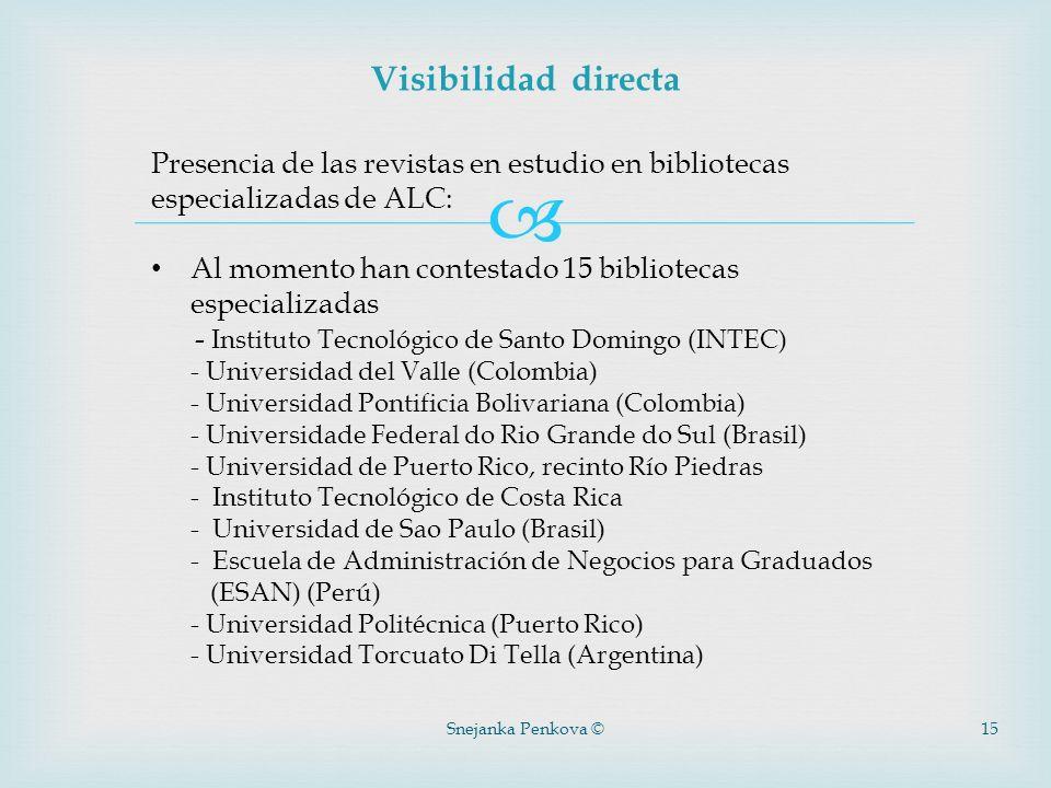 Snejanka Penkova ©15 Visibilidad directa Presencia de las revistas en estudio en bibliotecas especializadas de ALC: Al momento han contestado 15 bibli