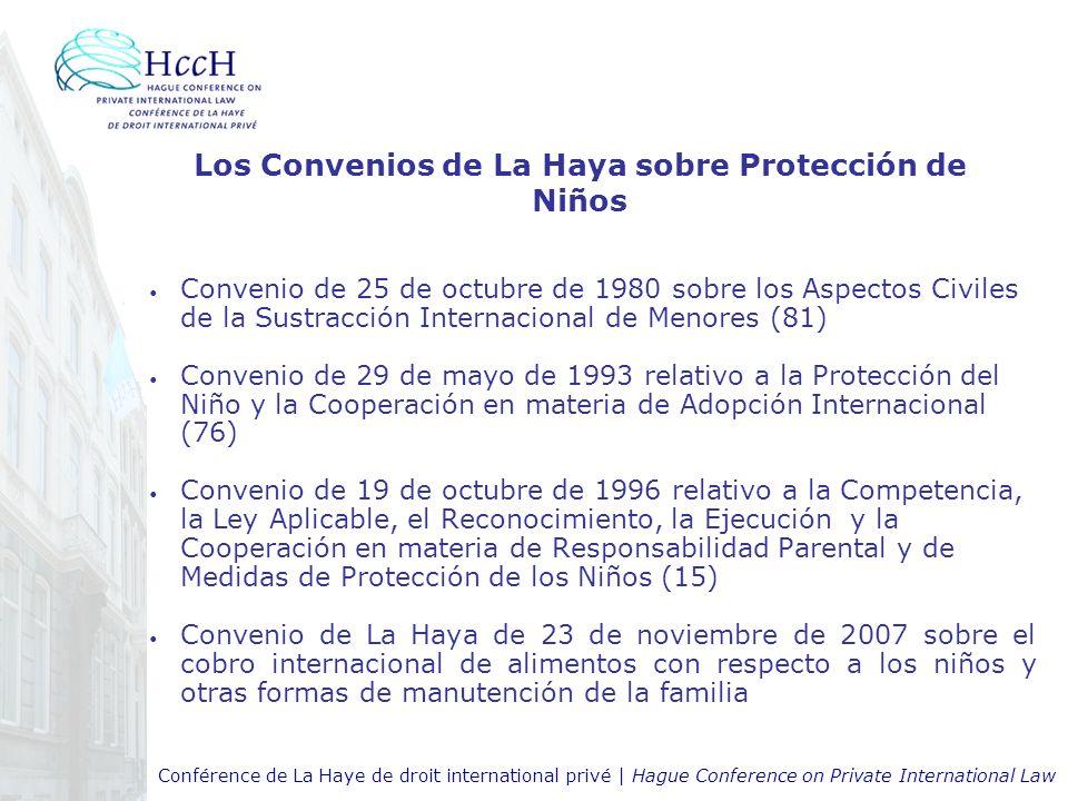 Conférence de La Haye de droit international privé | Hague Conference on Private International Law Los Convenios de La Haya sobre Protección de Niños Convenio de 25 de octubre de 1980 sobre los Aspectos Civiles de la Sustracción Internacional de Menores (81) Convenio de 29 de mayo de 1993 relativo a la Protección del Niño y la Cooperación en materia de Adopción Internacional (76) Convenio de 19 de octubre de 1996 relativo a la Competencia, la Ley Aplicable, el Reconocimiento, la Ejecución y la Cooperación en materia de Responsabilidad Parental y de Medidas de Protección de los Niños (15) Convenio de La Haya de 23 de noviembre de 2007 sobre el cobro internacional de alimentos con respecto a los niños y otras formas de manutención de la familia