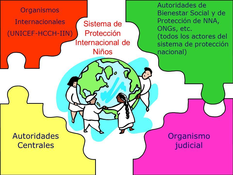 Autoridades Centrales Organismo judicial Autoridades de Bienestar Social y de Protección de NNA, ONGs, etc. (todos los actores del sistema de protecci