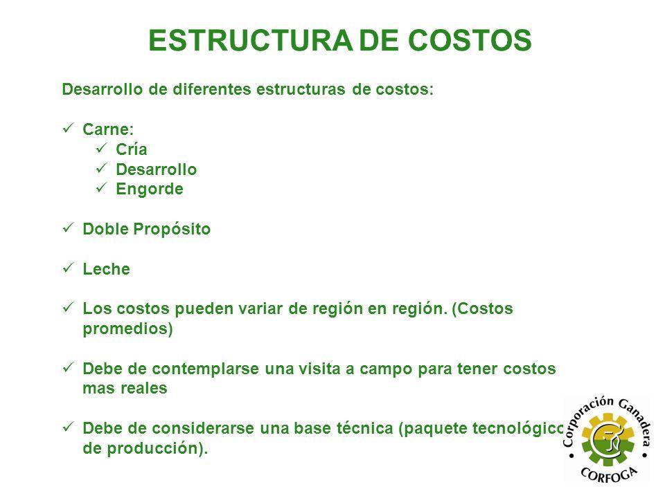 ESTRUCTURA DE COSTOS Desarrollo de diferentes estructuras de costos: Carne: Cría Desarrollo Engorde Doble Propósito Leche Los costos pueden variar de