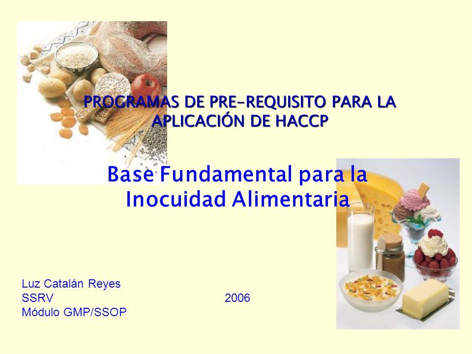 2006GMP/SSOP CONTENIDOS DE UN PROGRAMA DE GMP Programa de Control de Materias Primas –Evaluación Periódica de las Materias Primas –Inspección del 100% de las Partidas –Certificación del Proveedor –Requisitos relativos a las Especificaciones Procedimientos y Planes de Limpieza y Sanitización –Superficies, Utensilios y Equipos de Trabajo a Higienizar –Responsabilidades de Tareas Particulares –Método y Frecuencia de la Limpieza y Sanitización –Tipo de Principio Activo y Concentración –Requisito de Temperatura –Medidas de Control de Calidad Sanitaria –Medidas de Seguridad Personal