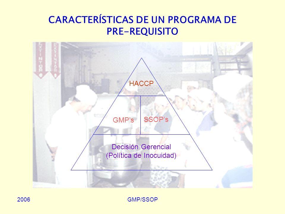 2006GMP/SSOP CONTENIDOS DE UN PROGRAMA DE GMP Programa de Control de Envases –Evaluación Periódica de los Envases –Inspección del 100% de las Partidas –Certificación del Proveedor Condiciones de Recepción, Almacenamiento y Distribución de Alimentos –Recepción de Alimentos –Almacenamiento –Distribución Tabla