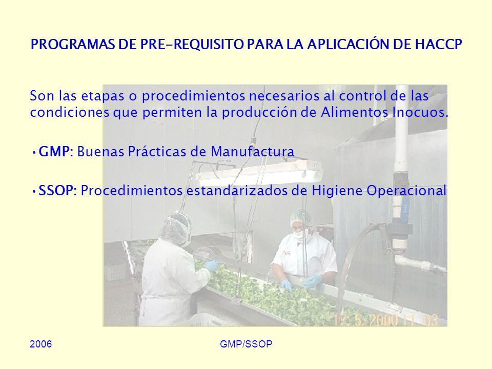 2006GMP/SSOP PROCEDIMIENTOS ESTANDARIZADOS DE HIGIENE OPERACIONAL (Sanitation Standard Operating Procedures: SSOP) Los SSOP están considerados dentro de las GMP, pero por su importancia, requieren ser objeto por separado de un muy bien documentado Programa Específico y Exclusivo para un Establecimiento de Fabricación de Productos para Consumo Humano