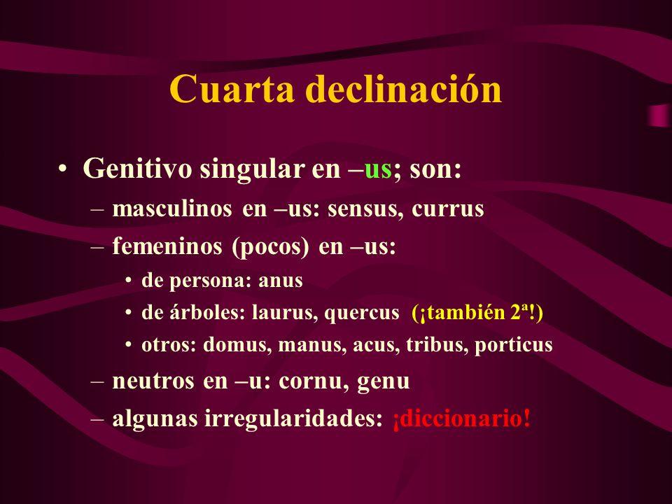 Cuarta declinación Genitivo singular en –us; son: –masculinos en –us: sensus, currus –femeninos (pocos) en –us: de persona: anus de árboles: laurus, q