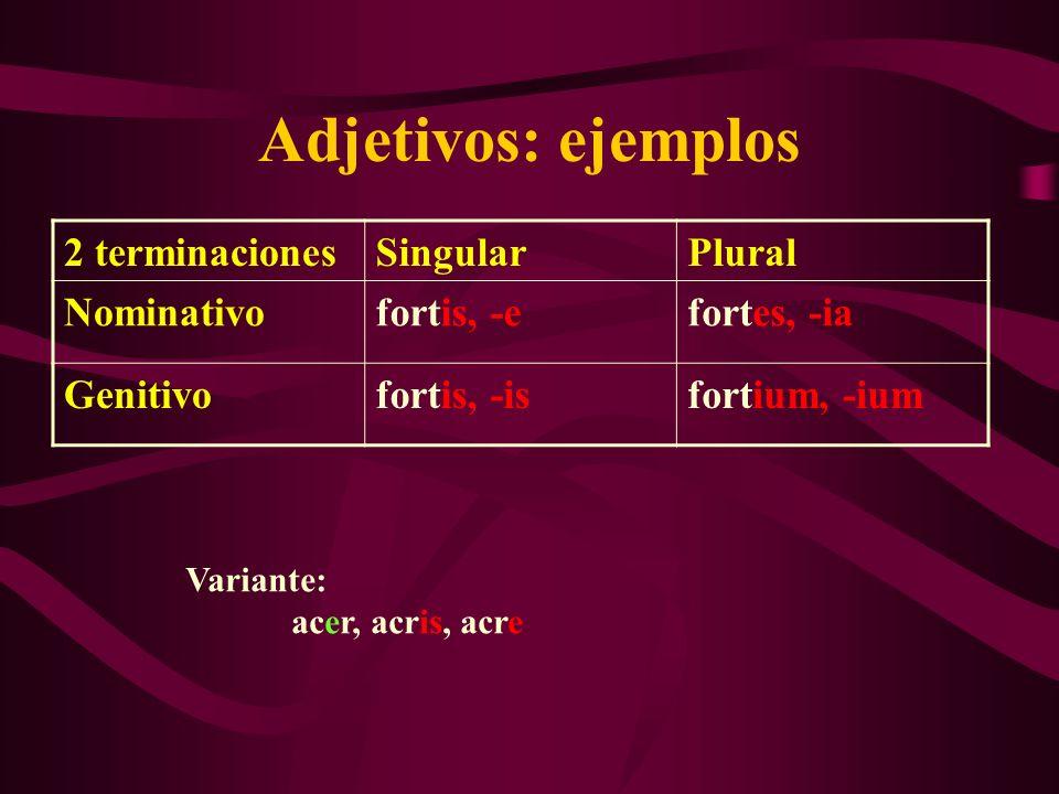 Adjetivos: ejemplos 2 terminacionesSingularPlural Nominativofortis, -efortes, -ia Genitivofortis, -isfortium, -ium Variante: acer, acris, acre