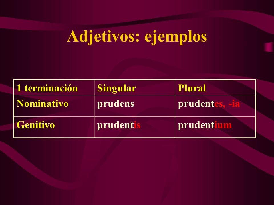 Adjetivos: ejemplos 1 terminaciónSingularPlural Nominativoprudensprudentes, -ia Genitivoprudentisprudentium