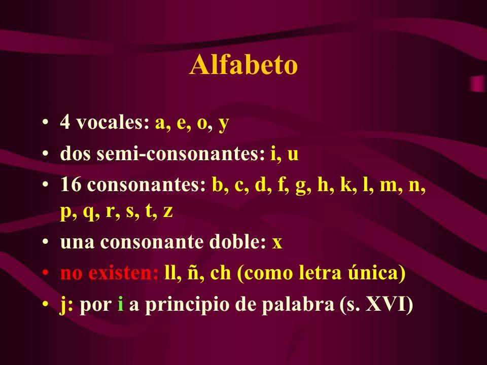 Alfabeto 4 vocales: a, e, o, y dos semi-consonantes: i, u 16 consonantes: b, c, d, f, g, h, k, l, m, n, p, q, r, s, t, z una consonante doble: x no ex